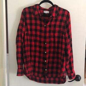 Red/Black Plaid Boyfriend Shirt